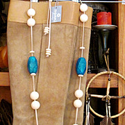 SALE Reduced! NANNI: Lovely and Quite Substantial, Turquoise and Marble Necklace