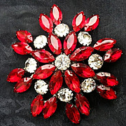 SALE JULIENNE: lovely Eye Popping, Runway Model, Ruby Red Brooch with Clear Stones