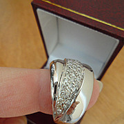 SALE Lovely Designer, Sonia B. 14K White Gold Diamond Dome Band