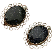 SALE Vintage Goldstone Sterling Silver Earrings