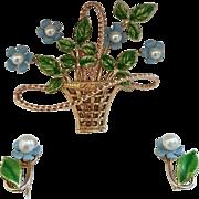 "SALE Beautiful ""KREMENTZ"" Flower Basket with Earrings Parure"