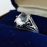 "SALE Pretty ""Kabana"" Sterling Silver & Clear Stone Ring"