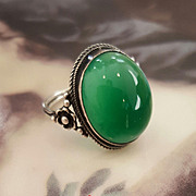 "SALE Lovely Green ""Arts n Crafts"" Chrysoprase Ring"