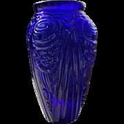 SALE Beautiful Cobalt Baroque Glass Vase