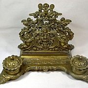 Large Antique Brass Cherub Letter Holder and Ink Wells