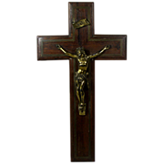 Antique Wooden Crucifix with Brass / Bronze Inlay and Figure of Christ