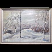 Vintage Landscape Oil Painting on Board - Signed I. Grew, 1962 / Snow Scene