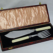 Fish Knife & Fork Set in Original Leather Bound Box - Stainless Plate