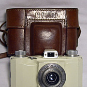 Vintage Ivory Ilford Advocate 35mm Camera with Brown Leather Case