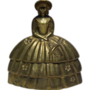 Old English Solid Brass Figurine Bell - Victorian Dressed Lady