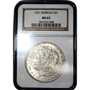 SALE 1921 Morgan Silver Dollar graded