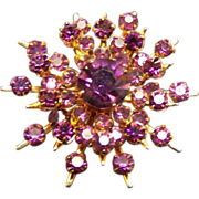 SALE Coro Starburst Amethyst/colored Rhinestone Brooch