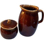 SALE Hull Brown Drip Milk Pitcher & Sugar Bowl