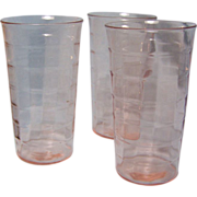 "SALE Block Optic Pink Depression tumbler Flat 5""  set of 3"