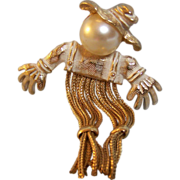 SALE Scarecrow Brooch Pin with Faux Pearl Head and Chain Fringe Legs
