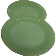 SALE Fire King Jadeite Jane Ray Plates  Set of 2