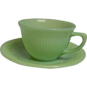 SALE Fire King Jadeite Jane Ray Cup Saucer