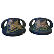 SALE Roseville Candle Holder Zephyr Lily Blue Pair