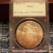 SALE 1880 S Morgan Silver Dollar PCGS Green label MS 63