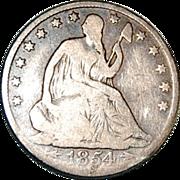 SALE Liberty Seated 1854 O Half Dollar