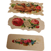 SALE Victorian Calling Cards Embossed set of 3
