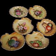 SALE Enesco Japan Shell Plates Hand painted set of 6