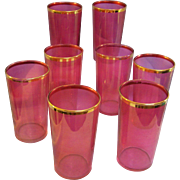SALE Cranberry Gold Trim Tumblers Set of 8