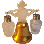 SALE Salt and Pepper  Dutch Bell with hanging shakers