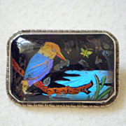 Butterfly Wing Brooch, Kingfisher on Branch, Set in Sterling Silver, 1920's