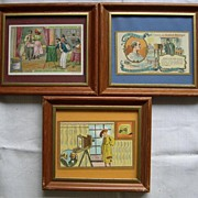 3 French Advertising Cards showing Vintage Cameras c1900
