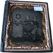 19thC 1/6th Plate American Tintype 3 Children with Toys