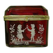 """Antique Bohemian  Cranberry Hinged Box. """"Mary Gregory """""""