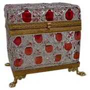 "Baccarat  Red Cut to Clear Casket  ""Paw Feet"