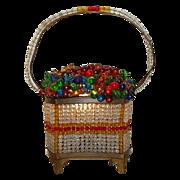"""Czech Glass Fruit Basket  """"RAREST SHAPE"""""""