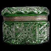 Antique  Bohemian Green Cut to Clear Box Casket