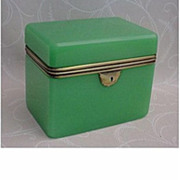 SOLD Magnificent Antique  French Green Opaline Jewelry Casket