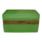 REDUCED Pretty Antique French Green Opaline Hinged Box