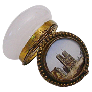 "REDUCED Rare Grand Tour White Opaline Hinged Box.  ""Eglomise"""