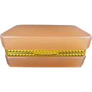 """REDUCED Antique French  Opaline Casket Hinged Box """"YUMMY PEACHY PINK"""""""