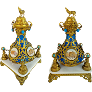 """REDUCED Grand Tour Jeweled Blue Opaline Scent Bottle """" FOUR MINIATURES""""  Dripping in"""