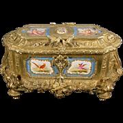 """REDUCED 15"""" Grandest Antique Bronze Casket Porcelain Plaques 'MAJESTIC SIZE"""""""