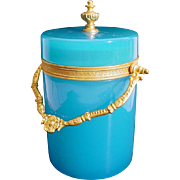 """REDUCED Antique French Blue Opaline Covered Box """"BEAUTIFUL ORMOLU & FINIAL"""""""
