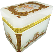 """REDUCED Antique French Opaline Casket Hinged Box """" PUTTI & PRETTY GILDING"""""""