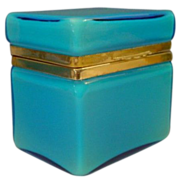 SOLD Antique Blue Opaline Casket Hinged Box