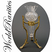 "SOLD Antique French Crystal Posey Holder Vase "" Dore Bronze Stand"""