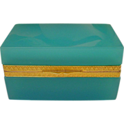 Antique Turquoise Opaline Rectangular Hinged Box