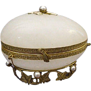 """SALE Rare French Jeweled Onyx Casket Hinged Box """" PEARLS"""""""