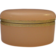 "Antique French Opaline Casket Hinged Box  ""OVAL"""