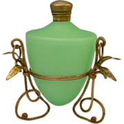 SOLD Antique French  Green Opaline Scent Perfume