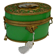 """Antique French Green Double Handle Casket """" Large Eglomise"""""""